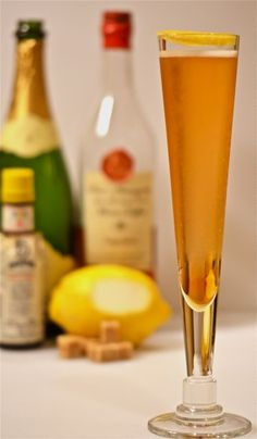 The Classic Champagne Cocktail:    Ingredients:    1 sugar cube or 1/4 oz. simple syrup  3 dashes Angostura bitters  1/2 oz. quality Cognac or Armagnac  4 oz. Champagne or sparking wine  1 large lemon twist (half-dollar size)