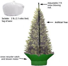 Let It Snow Machine, supports an artificial tree up to 7 1/2 feet in height. Comes with 1 Bag of Snow