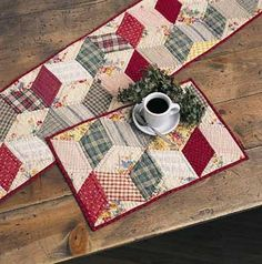 Quilted table runner and placemats.  Don't these make you feel at home?