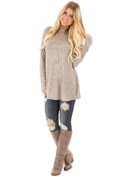 6f98cb1d794 Taupe Two Tone Mock Neck Knit Top Cute Boutiques, Taupe, Tunic, Pullover,