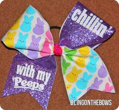 Chillin' with my peeps OOAK CHEER bow by Kreationz4kidzdotcom, $15.00