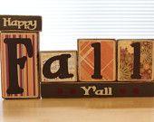 Happy Fall Y'all Wood Blocks Set