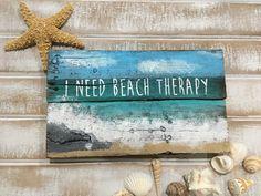 Beach signs beach decor beach therapy pallet signs reclaimed wood sign wooden beach signs beach pallet beach sayings ocean decor Beach Cottage Style, Beach House Decor, Coastal Style, Coastal Decor, Beach House Signs, Coastal Living, Arte Pallet, Pallet Art, Pallet Signs