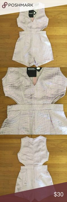 """Metallic romper Light blush periwinkle metallic snake crocodile textured romper with cutouts.  Back zip.  Runs small, tag is UK8/US4 but fits more like a US 0 or 2,  waistband is 13.5"""" flat, bust is 16.5"""" flat and hips are 19.5"""" flat. ASOS Pants Jumpsuits & Rompers"""