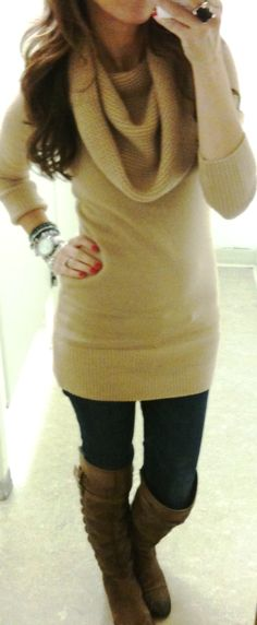 long sweater and boots!