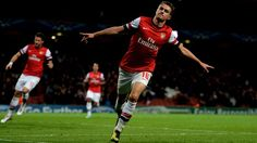 Aaron #Ramsey (Arsenal FC)  Aaron Ramsey of Arsenal FC celebrates after scoring a goal during their UEFA Champions League group stage match against Olympiacos FC