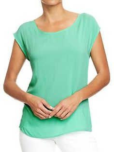 Womens Crepe Scoop-Neck Tops, try and make