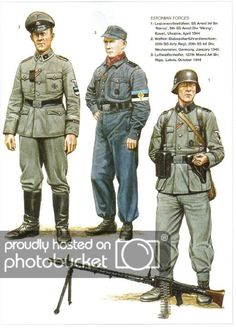 Osprey Men-at-Arms 363 - Germanys Eastern Front Allies Men-at-Arms 363 - Germanys Eastern Front Allies The Baltic nations - Estonia, Latvia and Lithuania - enjoyed a brief ind Luftwaffe, Ww2 Uniforms, German Uniforms, Military Uniforms, German Soldiers Ww2, German Army, Military Art, Military History, Raza Aria