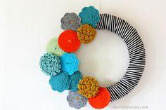 Fashion Forward Fall Felt Flower Wreath