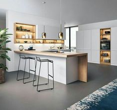 Best Contemporary Kitchen Design Ideas - - A contemporary kitchen is a nice idea of kitchen décor to apply. This décor concept will create a special look for the cooking space. Contemporary Kitchen Interior, Modern Kitchen Design, Interior Design Kitchen, Modern Contemporary, Kitchen Designs, Contemporary Bedroom, Modern Luxury, Home Decor Kitchen, New Kitchen