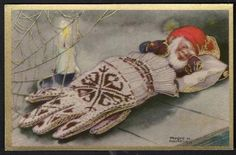 Just remember, when you lose a glove it's not a loss. You've just made a cozy bed for a gnome. Norwegian Christmas, Scandinavian Christmas, Vintage Christmas Cards, Christmas Images, Le Clan, Kobold, Elves And Fairies, Christmas Gnome, Christmas Illustration