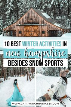 Are you looking for things to do in New Hampshire in winter beyond the typical snow sports? Fortunately, a magical New Hampshire winter has just as much to offer off the ski slopes as on. From the scenic Kancamagus Highway, to the fairytale Ice Castles New Hampshire, to a snow-covered forest straight out of a fairytale, you'll be swept away by the beauty of winter in New England. Come discover the top ten ways to spend winter in New Hampshire and enter a whimsical world of natural wonders. Usa Travel Guide, Travel Usa, Travel Tips, Travel Goals, Travel Guides, Winter Destinations, Travel Destinations, Ice Castles New Hampshire, Best Weekend Trips