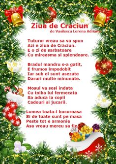 Poezie - Ziua de Craciun de Vasilescu Lorena Adriana Emotions Activities, Activities To Do, School Games, School Lessons, Design Case, Baby Play, Kids Education, Pre School, Ale
