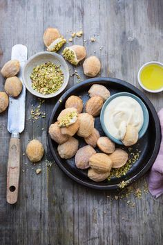 Lemon Madeleines with White Chocolate Crème Frâiche and Pistachios | Crush Magazine via @crushonlinemag