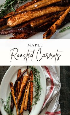 These maple roasted carrots are the perfect Thanksgiving or Christmas side dish! Roasted carrots with a maple glaze are flavorful, delicious, and a holiday staple! Make with heirloom carrots or orange carrots. You can even make these roasted carrots with baby carrots! A yummy carrot side dish for any holiday! Christmas Side Dishes, Fall Dishes, Carrot Recipes, Whole Food Recipes, Dinner Recipes, Carrots Side Dish, Maple Glaze, Roasted Carrots, Baby Carrots