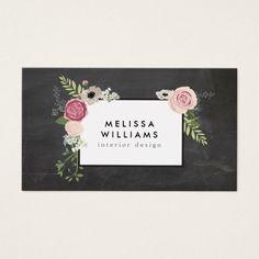 vintage modern floral motif on chalkboard designer business card - Fashion Designer Business Card