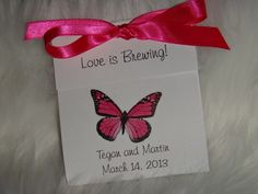butterfly tea bag | Hot Pink Butterfly Tea Bag Favors for Wedding Bridal by SuLuGifts