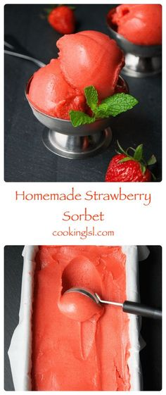 Homemade-strawberry-sorbet-recipe - Food and Drink Ice Cream Desserts, Frozen Desserts, Frozen Treats, Frozen Cookies, Frozen Cake, Frozen Party, Strawberry Sorbet, Strawberry Recipes, Fruit Sorbet