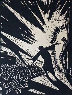 Station 1: Pilate Condemns Jesus | Artist : Max Thalmann | Woodcut from Passion (Bruno Wollbruck Verlag, Weimar: 1921)