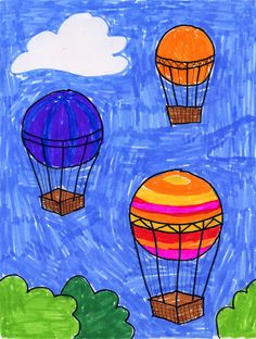 Art Projects for Kids: Hot Air Balloon Drawing. Large, medium and small circles turn into ballons that are floating away.