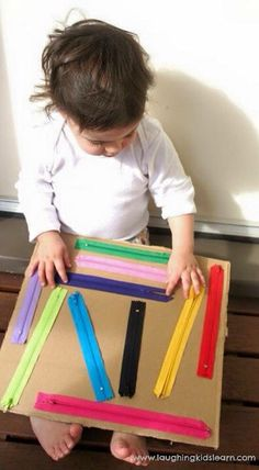 SC5.1: Demonstrate scientific curiosity. Zippers will keep a child busy for a long time. They will increase their fine motor skills and transfer what they learn to dressing themselves later.