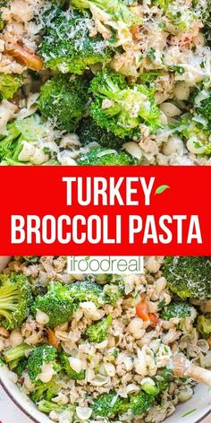 A 30 minute pasta meal with ground turkey and broccoli cooked in one pot. You will want to repeat this quick, easy, healthy and kid friendly weeknight dinner recipe again and again. Healthy Turkey Recipes, Ground Turkey Recipes, Healthy Pastas, Healthy Meal Prep, Clean Eating Recipes, Real Food Recipes, Healthy Eating, Ground Turkey Pasta, Broccoli Pasta