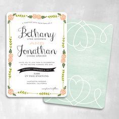 Oh Happy Day Wedding Invitation   Smitten on Paper