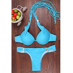 De las mujeres Bikini-Color Único Sujetador con Soporte / Sujetador sin Acolchado-Halter-Poliéster 4885154 2016 – €16.65