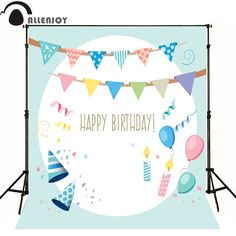 16.73$  Buy now - http://ali0tc.shopchina.info/go.php?t=32718442643 - Allenjoy Photographic background flag balloon topper candle baby happy birthday party vinyl photography backdrops 16.73$ #aliexpress