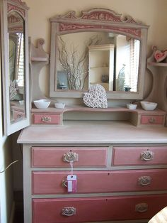 Scandinavian Pink & Country Grey Chalk Paint® decorative paint by Annie Sloan on a dresser | By Irene of Vintage Renovations www.vintagerenovations.co.uk