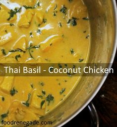 Thai Basil – Coconut Chicken (made with ingredients you probably have already.)Simple Thai Basil – Coconut Chicken (made with ingredients you probably have already. Indian Food Recipes, Asian Recipes, Real Food Recipes, Chicken Recipes, Cooking Recipes, Yummy Food, Healthy Recipes, Healthy Chicken, Cooking Tips