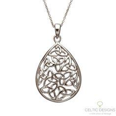 Sterling silver Celtic teardrop Trinity Knot pendant necklace.