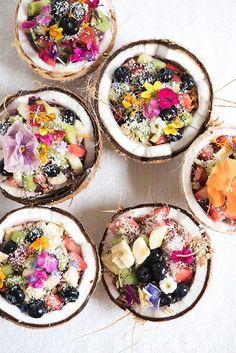 Coconut fruit bowls