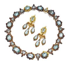 Gold and Aquamarine Necklace and Pair of Matching Girandole Pendant-Earrings, circa 1830 | Sotheby's