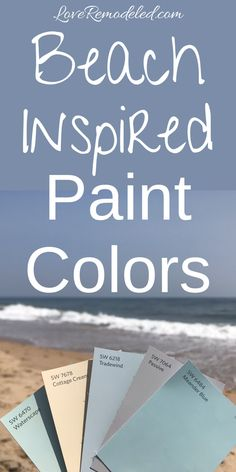This is a gorgeous coastal paint scheme for your home. You will feel instantly relaxed with these serene and beachy paint colors! bedroom furniture head boards Top Beach House Paint Colors from Sherwin Williams - Love Remodeled Beachy Paint Colors, Coastal Colors, Best Paint Colors, Interior Paint Colors, Paint Colors For Home, Coastal Decor, Nautical Paint Colors, Ocean Blue Paint Colors, Hall Paint Colors