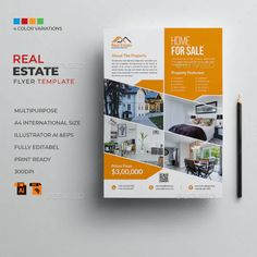 Property Real Estate, Real Estate Houses, Presentation Magazine, Promotion, Annual Report Covers, Real Estate Flyer Template, Real Estate Flyers, Brochure Layout, Marketing