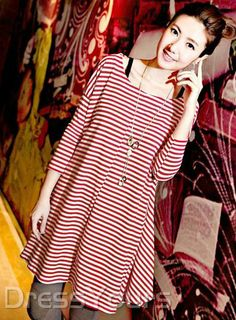 US$21.99 Graceful Red Round Neckline Long Sleeves Striped Dress. #Long #Dress #Long #Sleeves