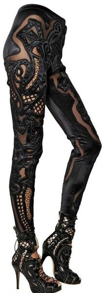 Embroidered Lace Spandex Leggings - Lyst