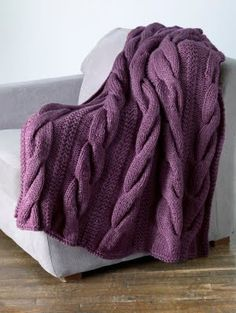chunky knit purple throw for bed room couch  Inspired by Grandin Road Purple Thistle.