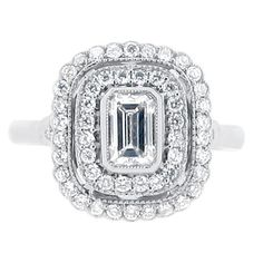Emerald cut antique double halo - ER 2020 #amazing #ring #engagement #rings #engagementrings #diamond #gold #silver #t4l #tagsforlikes #tagsforlike #tfl #tags4like #luxury #love #likeforlike #l4l  #jewellery #loveit #fashion #f4f #followforfollow #follow4follow #followback #follow #vsco #swag #girl #antique