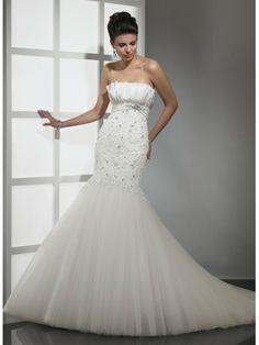 Sirène sans bretelles de mariage robe en dentelle taffetas