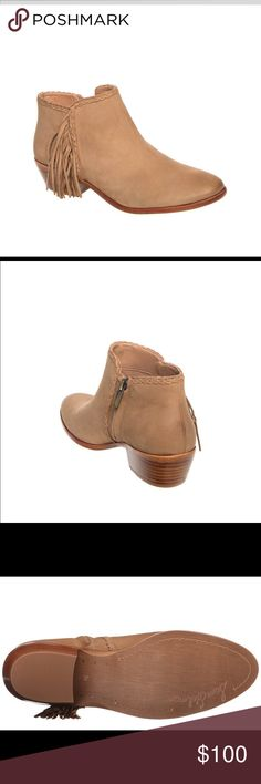 Sam Edelman Paige honey ankle booties - NWT Women's Sam Edelman's Paige honey ankle fringe leather zip up booties. Has a small heel. Trendy ankle bootie that is perfect for fall and winter. These booties are a tan color. Comes with box but has no lid. I am a size 5.5 / 6 and these were tiny big on me. A true size 6. NWT. Sam Edelman Shoes Ankle Boots & Booties