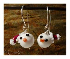Handmade lampwork glass earrings from Copperstone Jewellery #handmade jewellery #lampwork beads #Christmas.