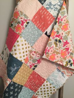Modern Floral Woodland Baby Quilt Baby Girl Quilt Pink   Etsy
