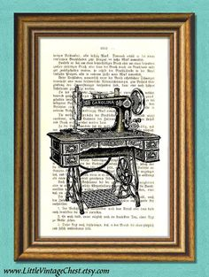 Sweet Carolina SEWING MACHINE   Dictionary Art print by littlevintagechest, $7.99