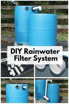 Create you own DIY Rainwater Filter System and filter the water of harmful pollutants. It is not recommended for drinking, but great for gardening and cleaning. Find the best water filter for your home Water Collection System, Rain Collection, Water Filtration System, Water Systems, Water Catchment, Materiel Camping, Rainwater Harvesting System, Water Barrel, Water From Air