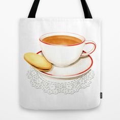 Cup of Tea and a biscuit Tote Bag by #PatriciaSheaDesigns - designed in Maine, made in America
