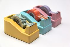 Easier to use! I love how they painted the dispensers! Tape Dispenser Makeover - fun to store washi tape! #crafts #washi