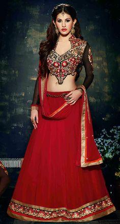 USD 56.63 Red Georgette Designer Lehenga Choli 44939