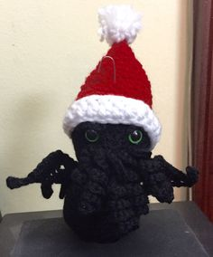 These creatures have been adopted into their new forever homes! Cthulhu, Adoption, Creatures, Homes, Stitch, Christmas Ornaments, Holiday Decor, Amigurumi, Xmas Ornaments